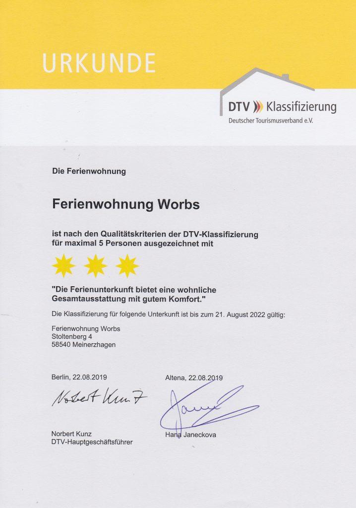 Urkunde Deutscher Tourismus Verband e. V.